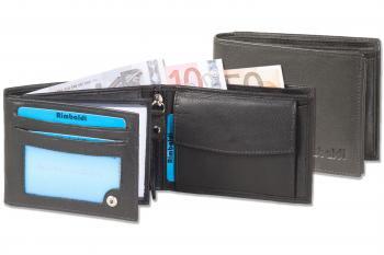 ee293e90a332c Geldbörse im Querformat in schwarz mit Gravur auf dem Leder