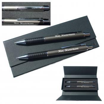 Schreibset Druckkugelschreiber und Druckbleistift im Geschenketui mit Gravur