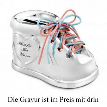 new arrival ed505 dc82c Spardose Baby Schuh - Schnürsenkel in rosa und blau - mit Gravur veredeln  lassen