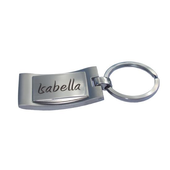 rechteckig Metall-Schlüsselanhänger mit Gravur verchromt